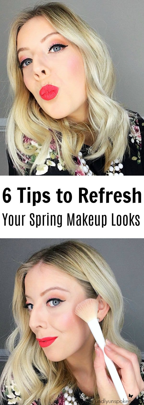 Spring is just around the corner, which means it's time to refresh your makeup collection! Today I'm sharing 6 Tips to Refresh Your Spring Makeup Looks plus I'm including a gorgeous, fresh makeup look featuring some of spring's must-have products and hottest trends! From bright lip colors,peach eyeshadows, to sun-kissed gold skin, it's time to addsome color and freshen up your look for spring!