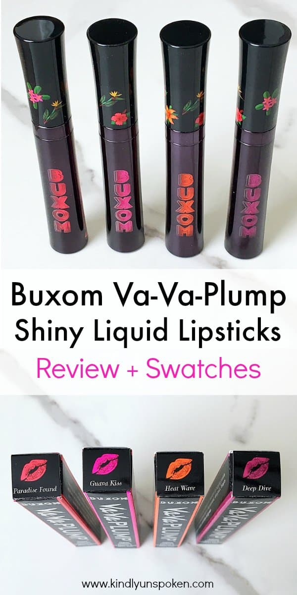Ready to add some color to your lips for spring and summer? Then add the beautiful Buxom Va-Va-Plump Shiny Liquid Lipsticks to your makeup collection. These liquid lipsticks are long-lasting, come in 4 gorgeous shades, and are perfect for adding color and plumping the lips! #makeupreview #buxomcosmetics #liquidlipsticks