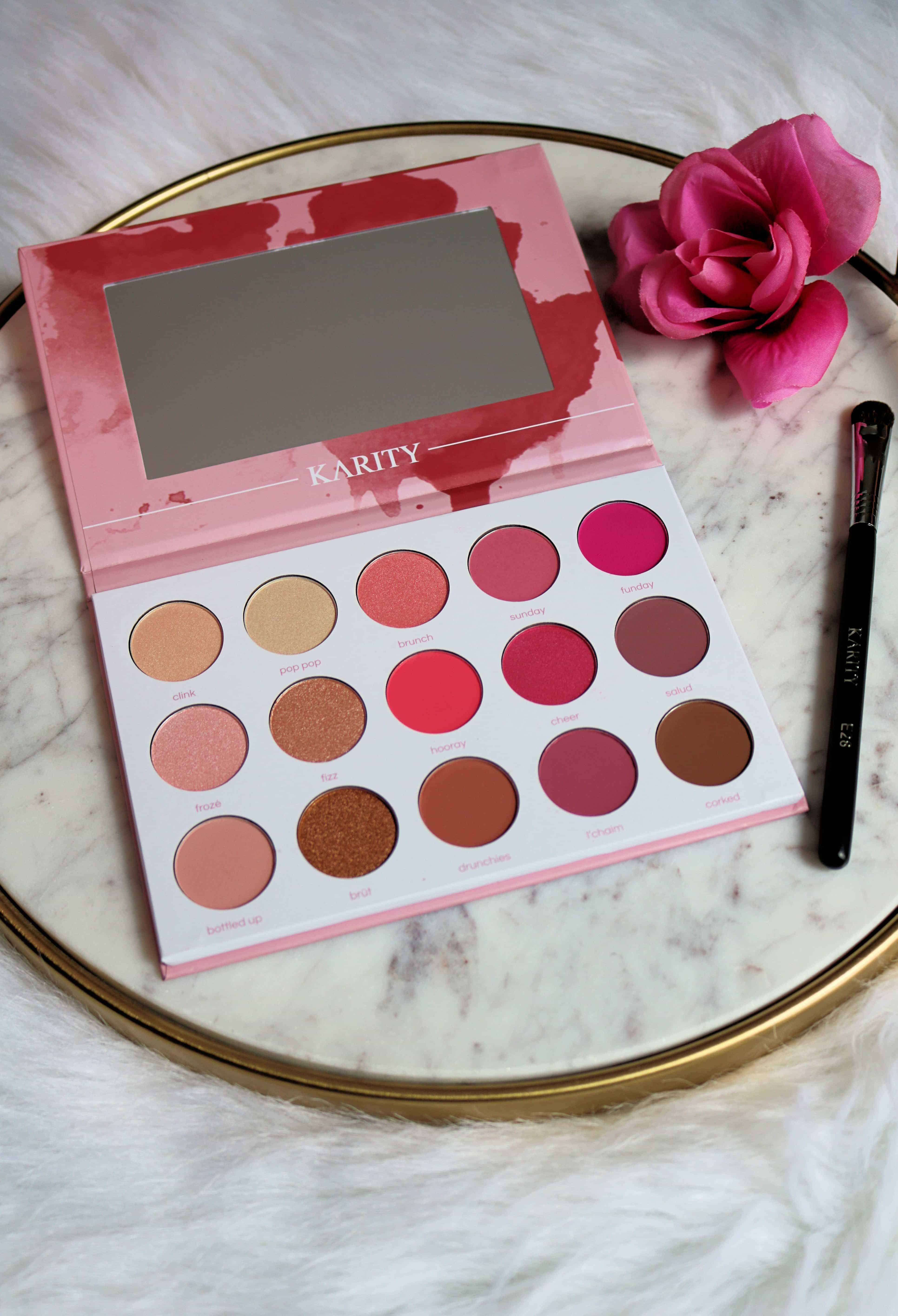 The Karity Rosé All Day Eyeshadow Palette is such a beautiful rose colored palette and it's affordable at less than $20! Check out my full Karity eyeshadow palette review and swatches of all 15 Karity eyeshadow shades. #eyeshadowpalette #makeupreview #karity