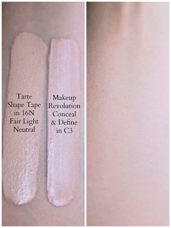 Is the Makeup Revolution Conceal & Define Concealer a dupe for the Tarte Shape Tape? Find out in my full review of this affordable drugstore concealer with swatches and a side-by-side comparison of the two concealers. #drugstoremakeup #makeupreview #dupes