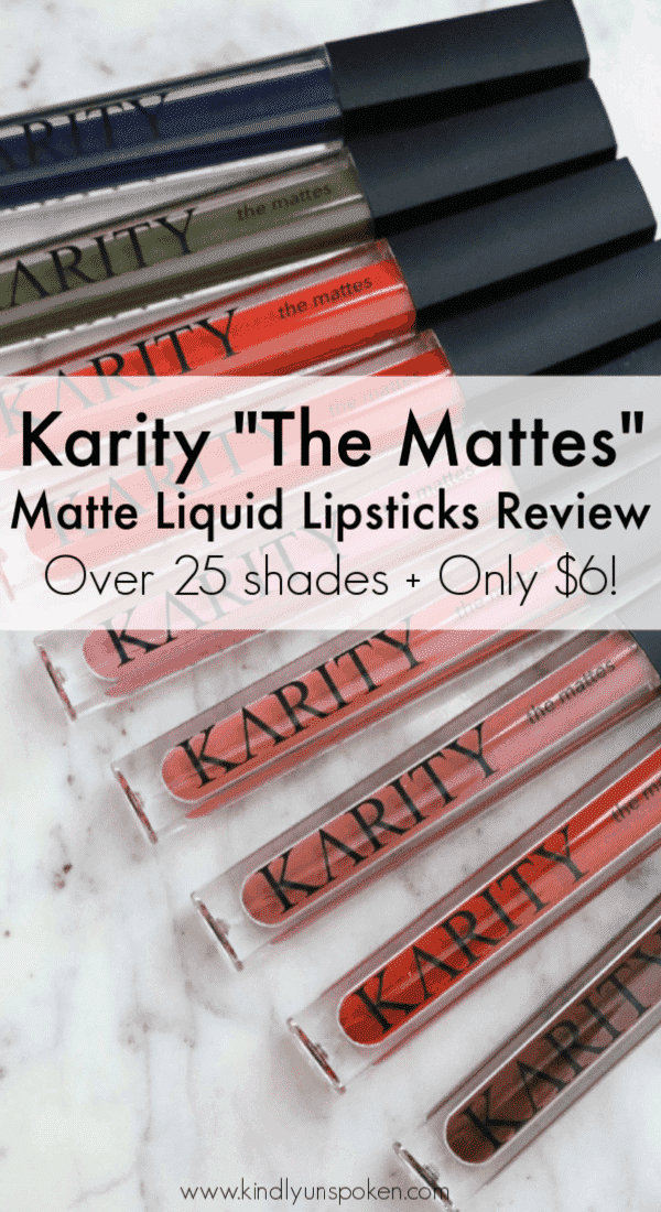 Looking for an affordable, long-lasting matte lipstick? Click through for my full review and swatches of the Karity Matte Liquid Lipsticks which are cruelty free, vegan, and come in 25 gorgeous shades! Even better they only cost $6. #liquidlipstick #veganliquidlipstick #crueltyfreelipstick