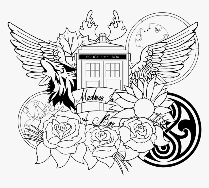 Tardis Coloring Page Doctor Who Coloring Pages For Adults Hd Png Download Kindpng