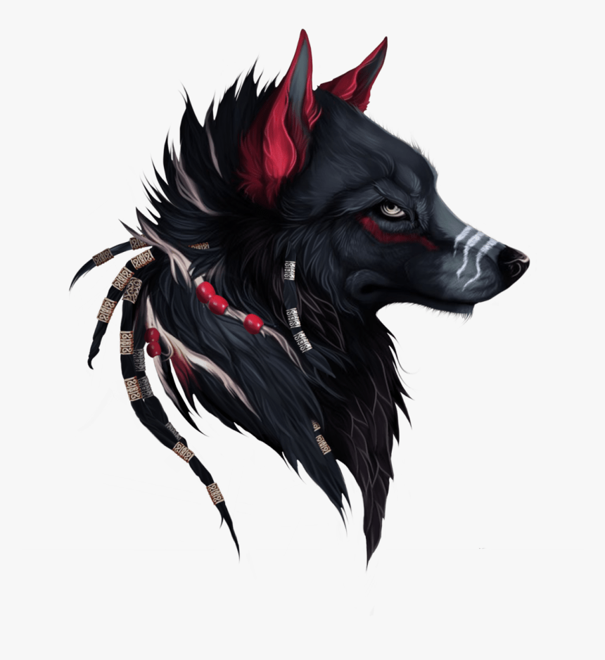 Mystical Drawings Of A Wolf Png Download Black And Red Wolf Transparent Png Kindpng