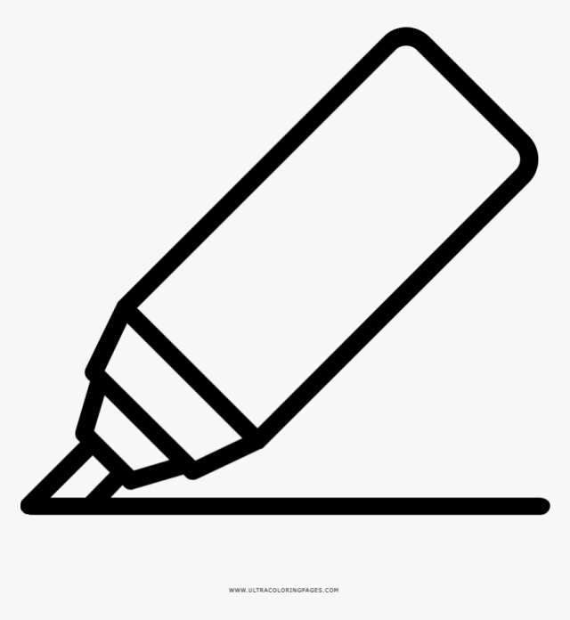 Marker Coloring Page - Drawing, HD Png Download - kindpng