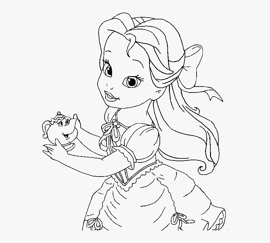 Belle Coloring Pages Little Belle Coloring For Kids Baby Princess Belle Coloring Pages Hd Png Download Kindpng