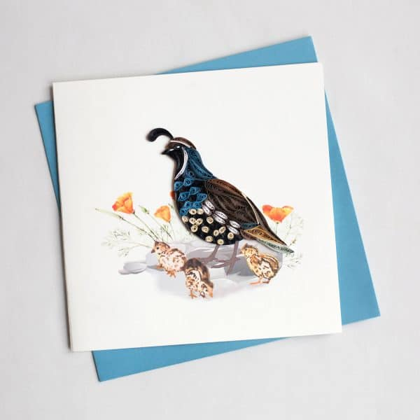 CARD QUILLING QUAIL AND CHICKS