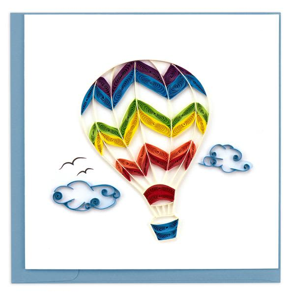 CARD QUILLING HOT AIR BALLOON RAINBOW