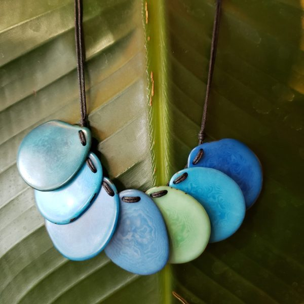 Blue Layered Tagua Necklace