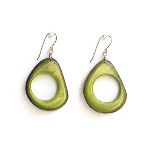 Green Loop Tagua Earrings