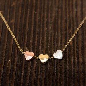 3 HEARTS NECKLACE – BRASS COPPER SILVER