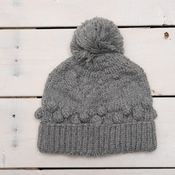KNIT ALPACA WOOL HAT WITH SINGLE POM