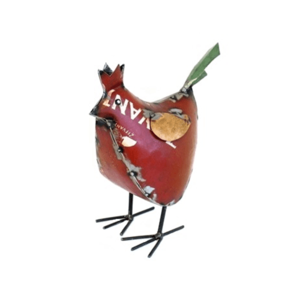 RECYCLED METAL HEN RED