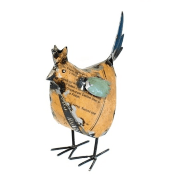 RECYCLED METAL HEN YELLOW