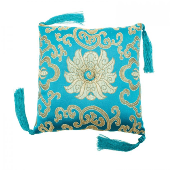 BOWL CUSHION TURQUOISE BROCADE