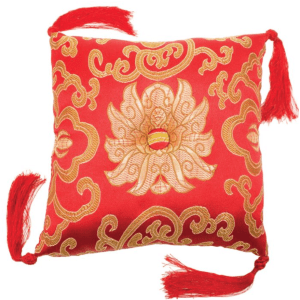 BOWL CUSHION RED BROCADE
