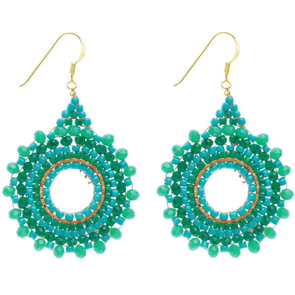 Beaded Starburst Earrings – Teal
