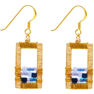 Brass Window Earrings – Blue