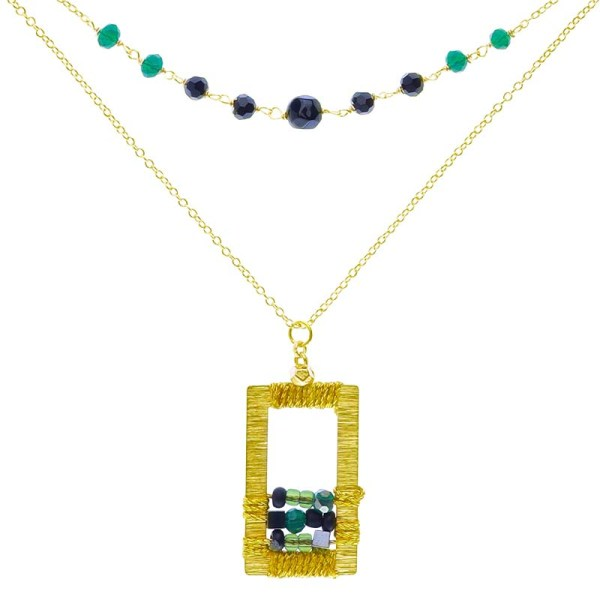 Brass Window Necklace – Green