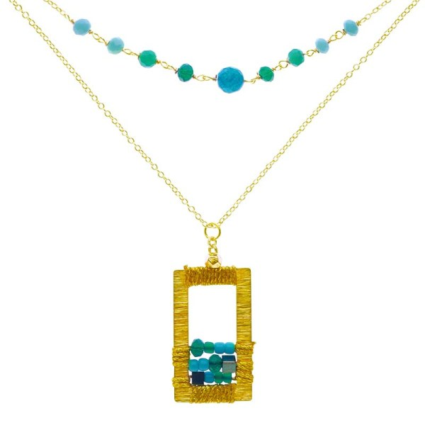 Brass Window Necklace – Turquoise