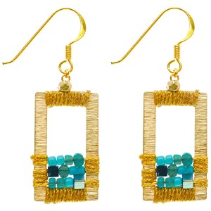 Brass Window Earrings – Turquoise