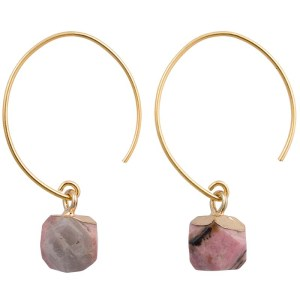 Brass & Stone Hoop Earrings – Rose