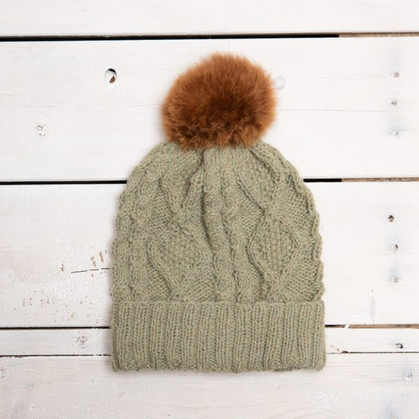 BRAIDED KNIT HAT WITH SINGLE ALPACA POM