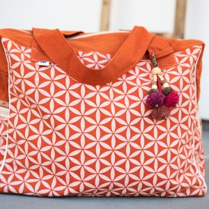 DIAPER BAG GEOMETRIC FLOWER – Orange
