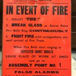 Fire warning sign from the Kilbagie Paper Mill.