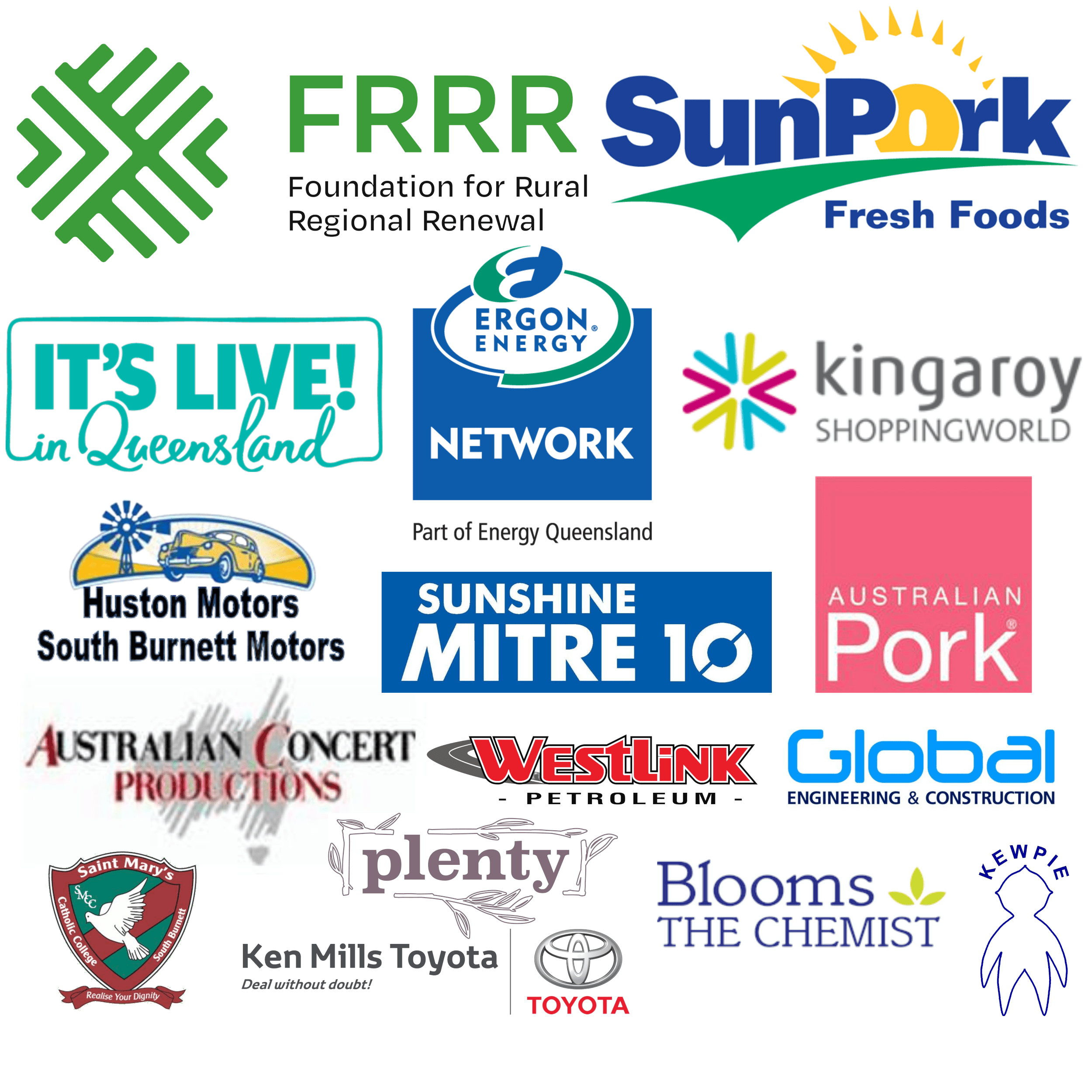 A list of our major sponsors. Without our sponsors we would not have Kingaroy BaconFest