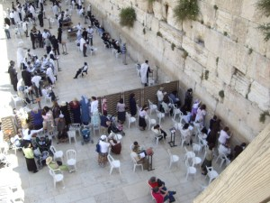 A view from above: People praying at the Western (Wailing) Wall