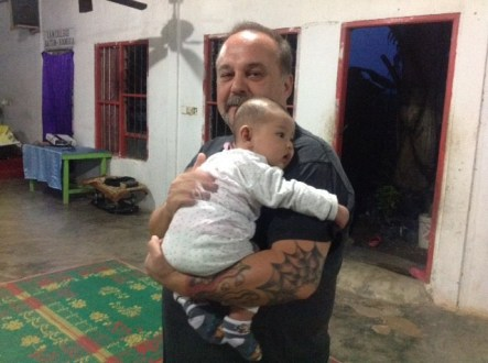 Hanging out with the baby just before youth group. - Batam Island, Indonesia 2015