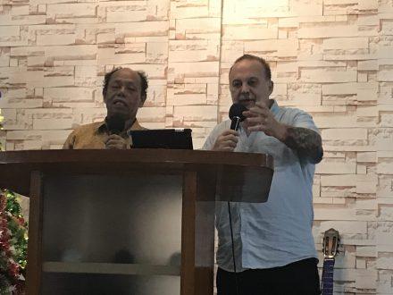 Ministering at Ps Pantas Church GBR, Batam Island, Indonesia 2019 - Indonesian Service, with Ps Pantas interpreting