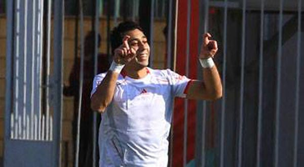 Tala'a El-Gaish striker Salah Amin makes an apparent 'Sisi' gesture during a domestic league match.