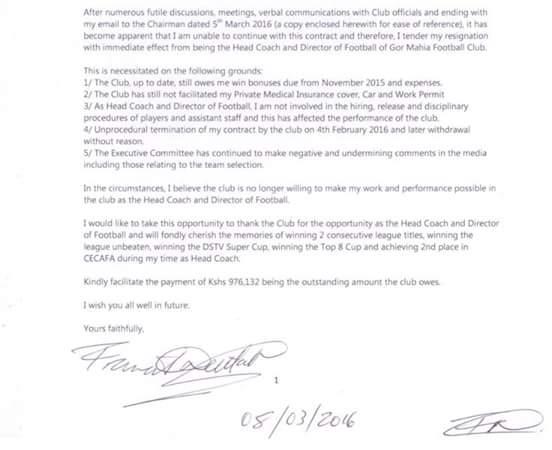 Nuttall Resignation Letter