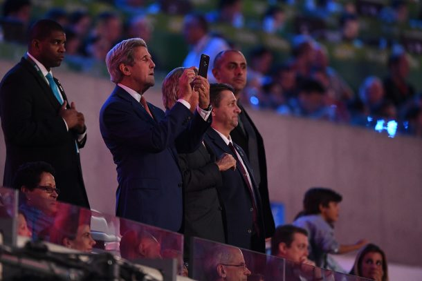 U.S State Secretary John Kerry takes a pictures of the Team of the U.S.A during the Opening Ceremony of the Rio 2016 Olympic Games at Maracana Stadium on August 5, 2016 in Rio de Janeiro, Brazil. (Photo by Pascal Le Segretain/Getty Images)