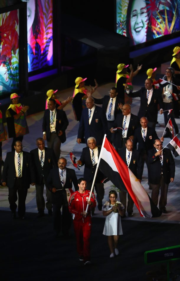 Flag bearer Ahmad Elahmar of Egypt leads the team members entering the stadium during the Opening Ceremony of the Rio 2016 Olympic Games at Maracana Stadium on August 5, 2016 in Rio de Janeiro, Brazil. (Photo by Lars Baron/Getty Images)