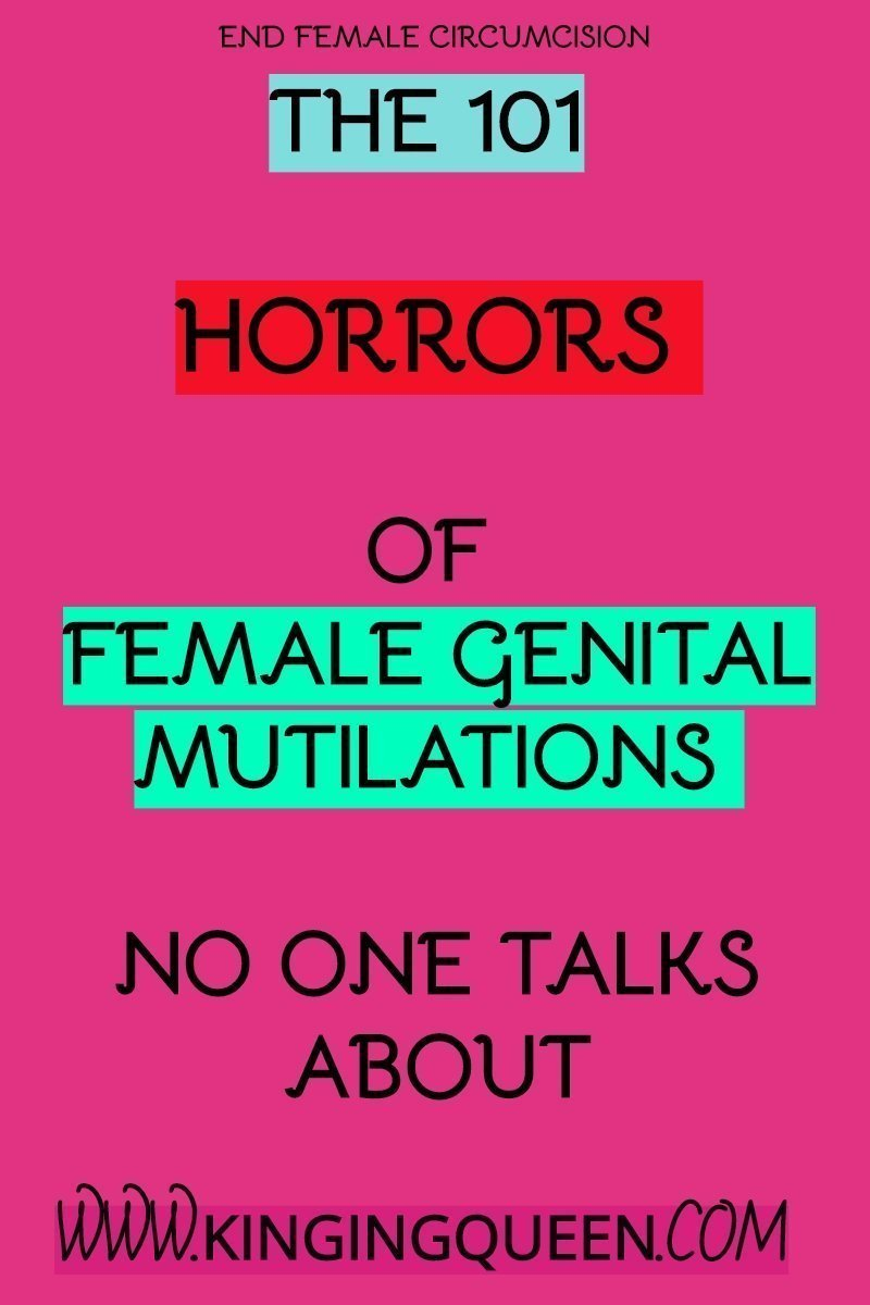 Graphic with the words 101 horrors of female genital mutilation