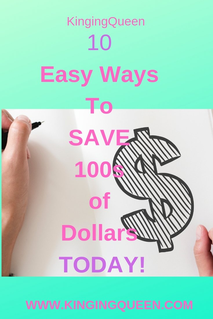 graphic showing 10 easy ways to save money