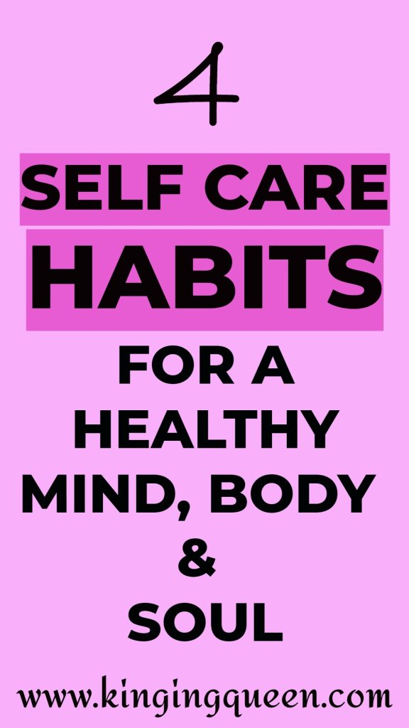Graphic showing self care habits for a healthy mind and soul