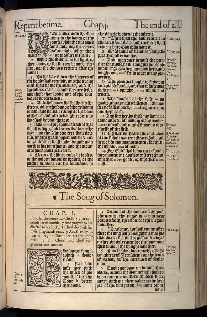 Song of Solomon Chapter 1 Original 1611 Bible Scan