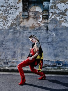 Jacket - Vintage | Tattoo Top - Di$count Univer$e | Red PVC Top - Wet Nature | Red Leather Trousers - Vintage | Boots - Di$count Univer$e