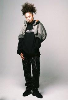 Olivia Suleimon wears Hoodie - Pelvis | Military Bomber - Yohji Yamomoto from dotCOMME | Jeans - Di$count Univer$e | Shoes - Nike