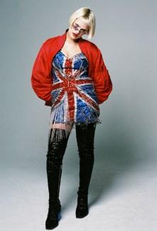Millie Sykes wears Dress and Boots - Di$count Univer$e | Jacket - P.A.M | Sunglasses - Model's Own