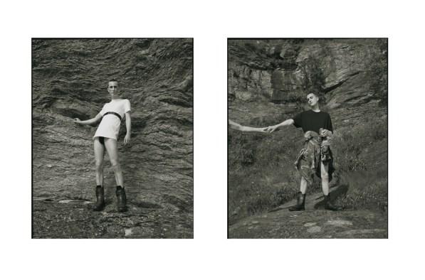 T-shirt - CALVIN KLEIN | belt - ACNE STUDIOS | shoes - YOHJI YAMAMOTO | sweater - stylist's own | t-shirt - HELMUT LANG | vintage camo jacket and shoes - YOHJI YAMAMOTO