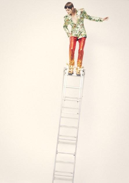 Jacket and trousers - RICHARD QUINN | Bra - BASERANGE | Shoes - KULT DOMINI X HELEN LAWRENCE