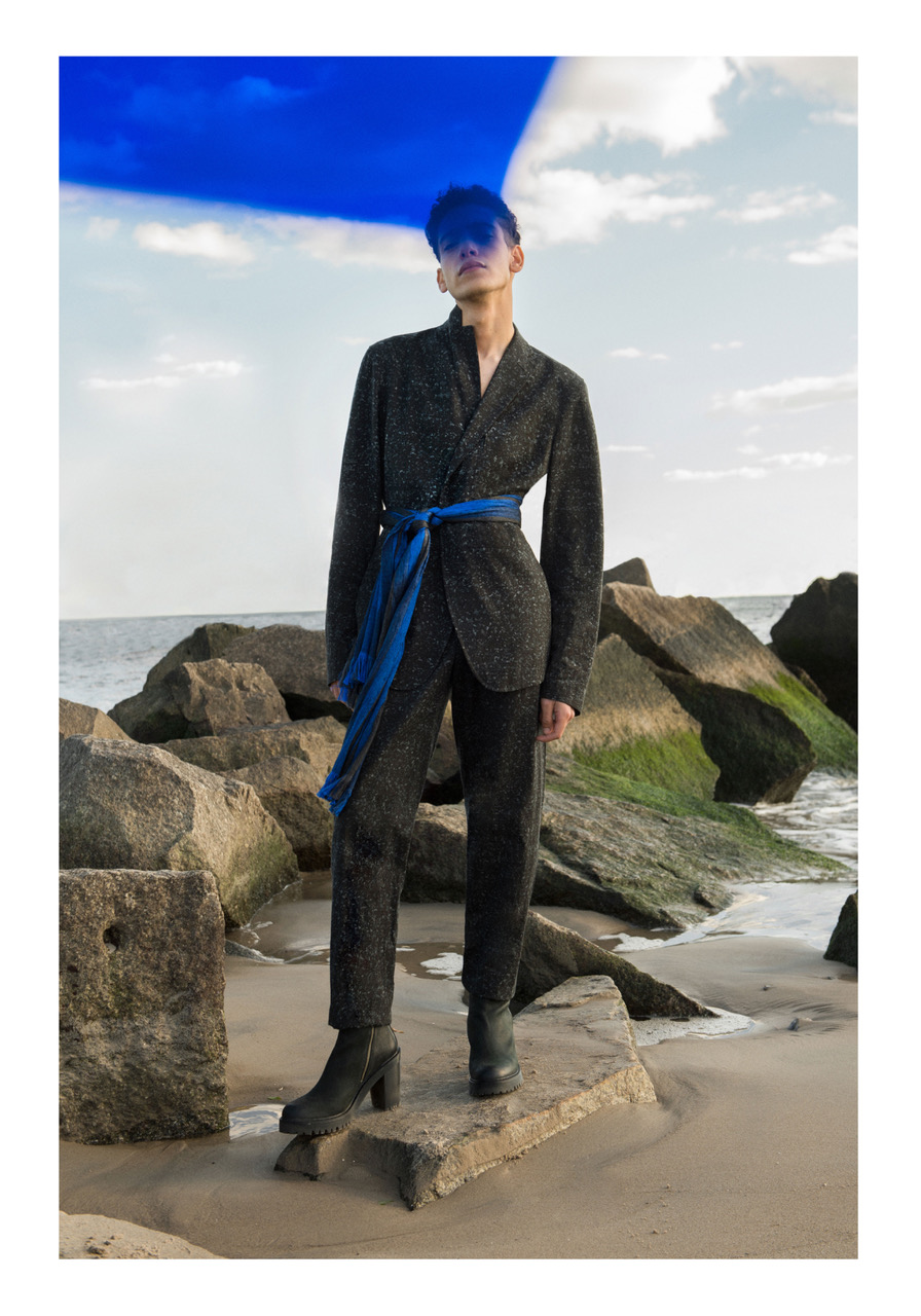 Suit, scarf - Issey Miyake | Scarf - Fingers Crossed | Boots - Stylist's own