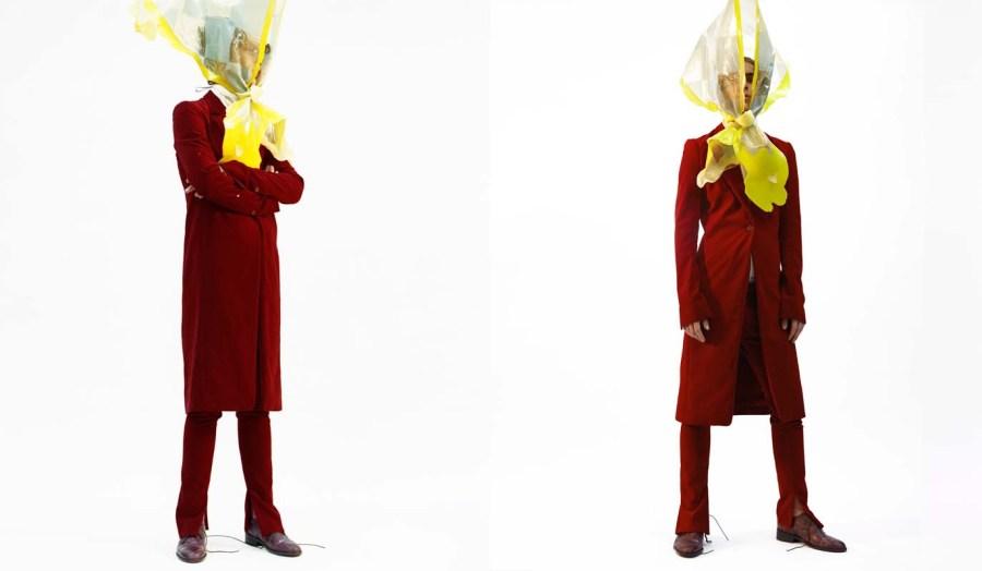 Oversized rain Hat - Jo Miller Long jacket - Alexandre Arsenault Roll neck - Studio Nicholson Trousers - Alexandre Arsenault Handmade floral Shoes - Marco Baitella (Jewellery - stylist's own
