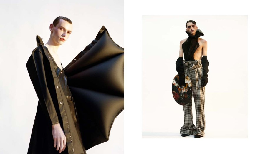 (left) Latex bodysuit - Abzal Issa Bekov Inflatable Plastic Jacket - Michiko Koshino (right) Pleated Top - Aya Takeshima Belted trousers and gloves - Abzal Issa Bekov Color palette - antique from Emma Newton Slippers - AUTTAA