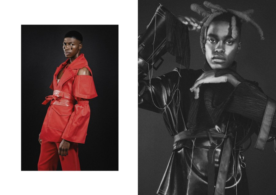 LEFT: PARKA AND TROUSERS BY THEBE MAGUGU, BELT FROM THE SOURCE JHB RIGHT: TURTLENECK, LEATHER TOP AND BELT BY TSEPO TSOTETSI