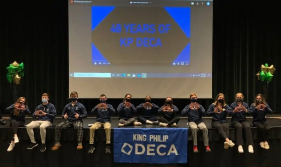 King Philip DECA Officers at the States Award Ceremony from left to right: Kristina Conlon, Cole Breen, Ajae Olsen, Jarred Curran, Samantha Asperelli, Ahunna James, Audrey Leonard, Ryan Boucher, Jaclyn Anderson, Courtney Keswick, and Riley Abrams. (Photo courtesy King Philip Regional School District)